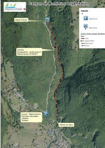 plan de l'organisation, canyoning à Montmin